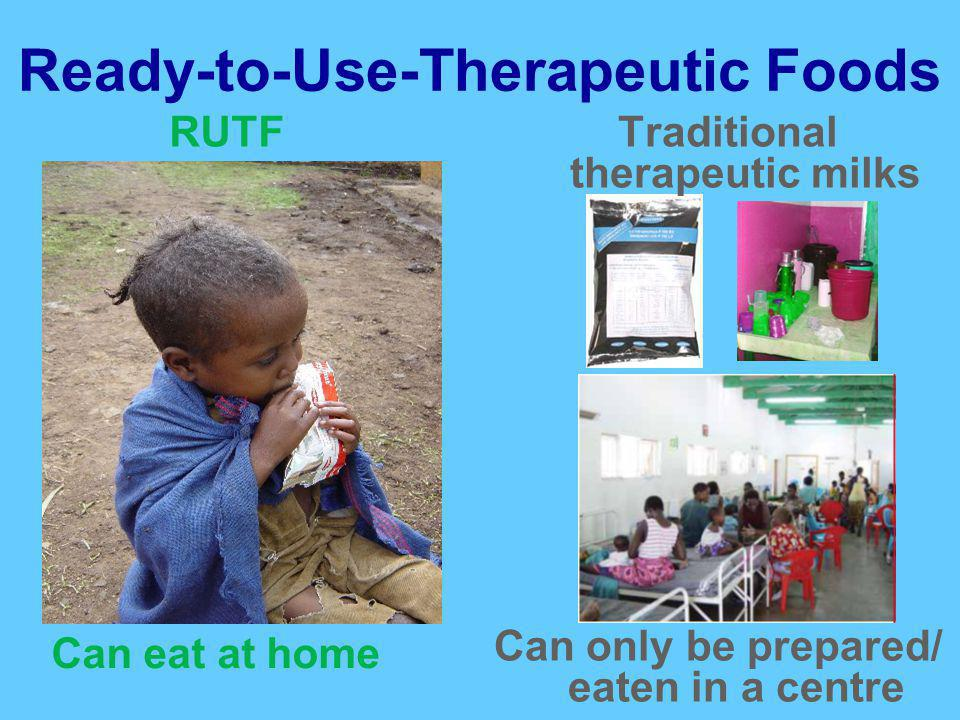 Ready-to-Use-Therapeutic Foods Can eat at home Can only be prepared/ eaten in a centre RUTFTraditional therapeutic milks