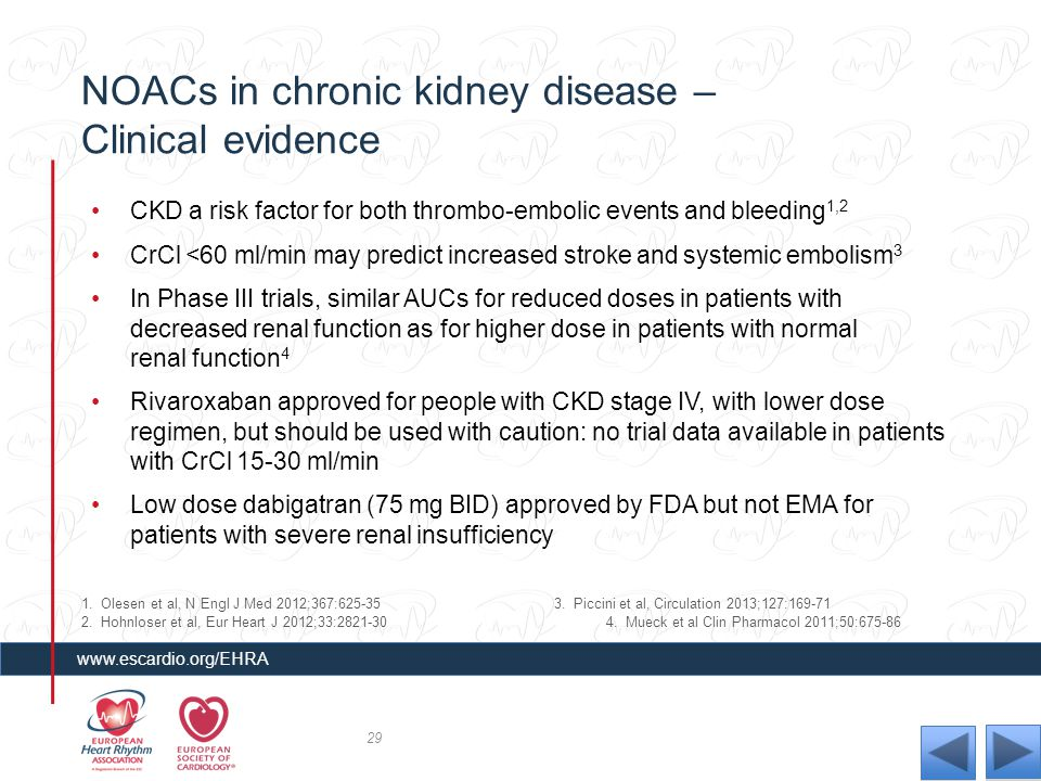 NOACs in chronic kidney disease – Clinical evidence CKD a risk factor for both thrombo-embolic events and bleeding 1,2 CrCl <60 ml/min may predict inc