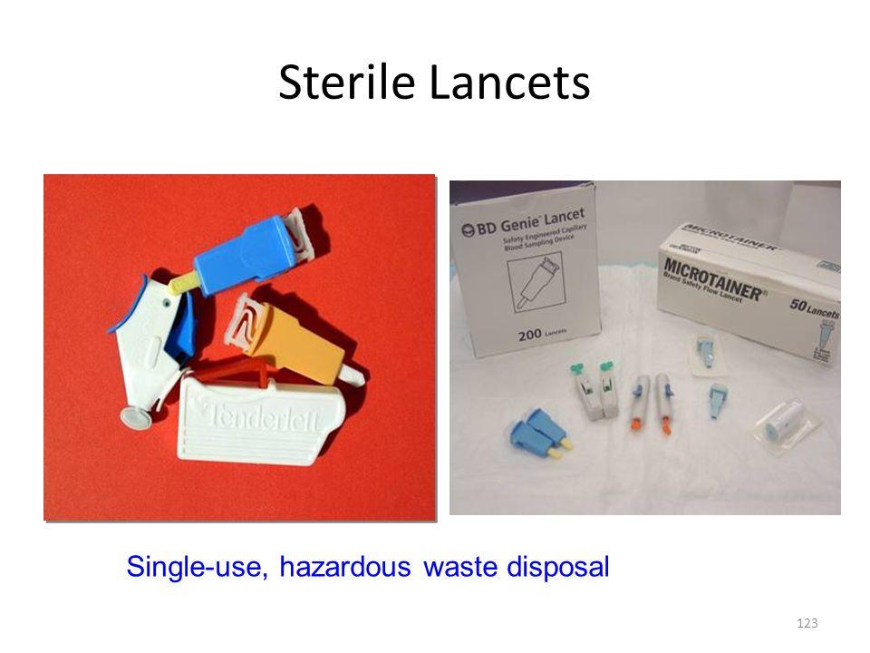Sterile Lancets 123 Single-use, hazardous waste disposal