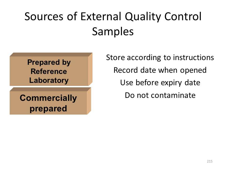 Sources of External Quality Control Samples Store according to instructions Record date when opened Use before expiry date Do not contaminate 215 Comm