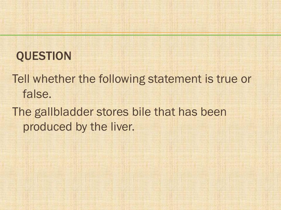 QUESTION Tell whether the following statement is true or false. The gallbladder stores bile that has been produced by the liver.
