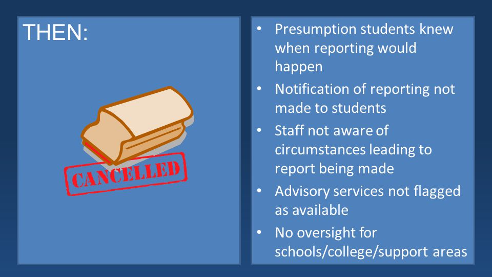 THEN: Presumption students knew when reporting would happen Notification of reporting not made to students Staff not aware of circumstances leading to report being made Advisory services not flagged as available No oversight for schools/college/support areas
