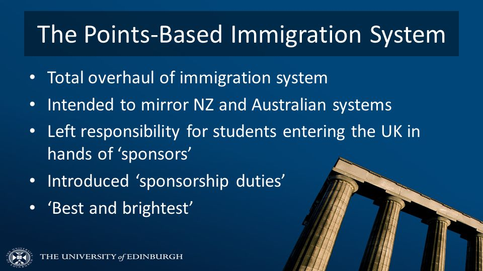 The Points-Based Immigration System Total overhaul of immigration system Intended to mirror NZ and Australian systems Left responsibility for students entering the UK in hands of 'sponsors' Introduced 'sponsorship duties' 'Best and brightest'