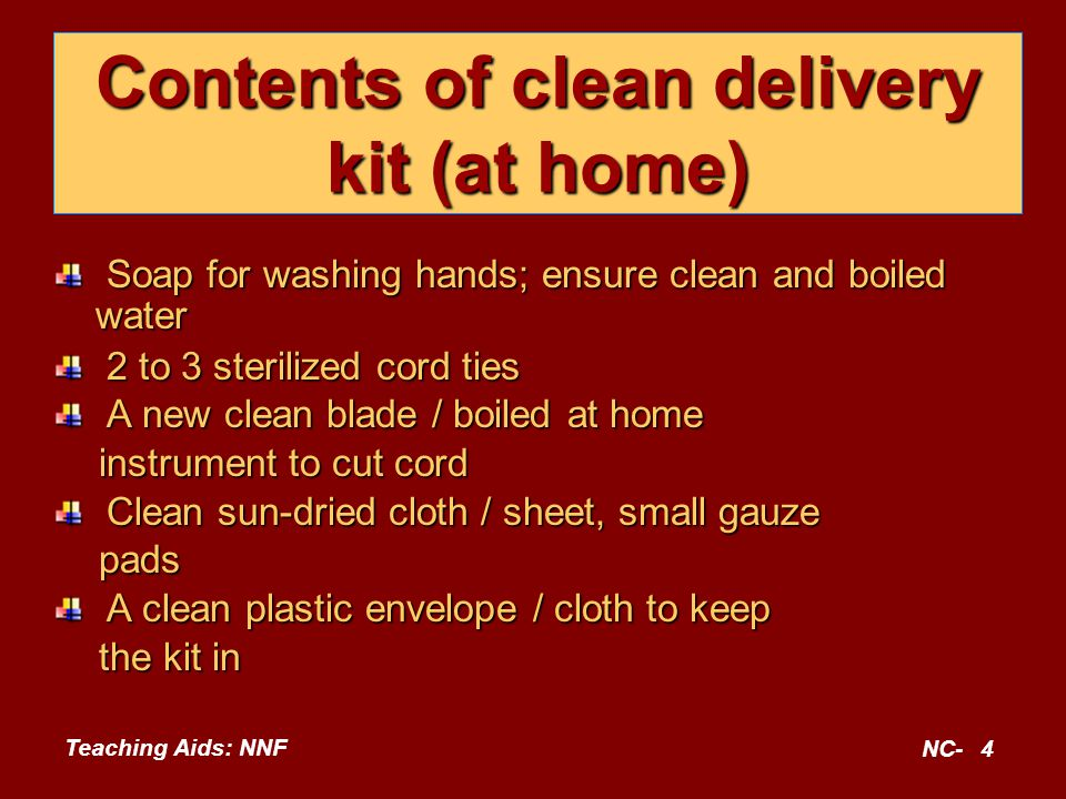 Teaching Aids: NNF NC-5 'Five cleans' to prevent infection