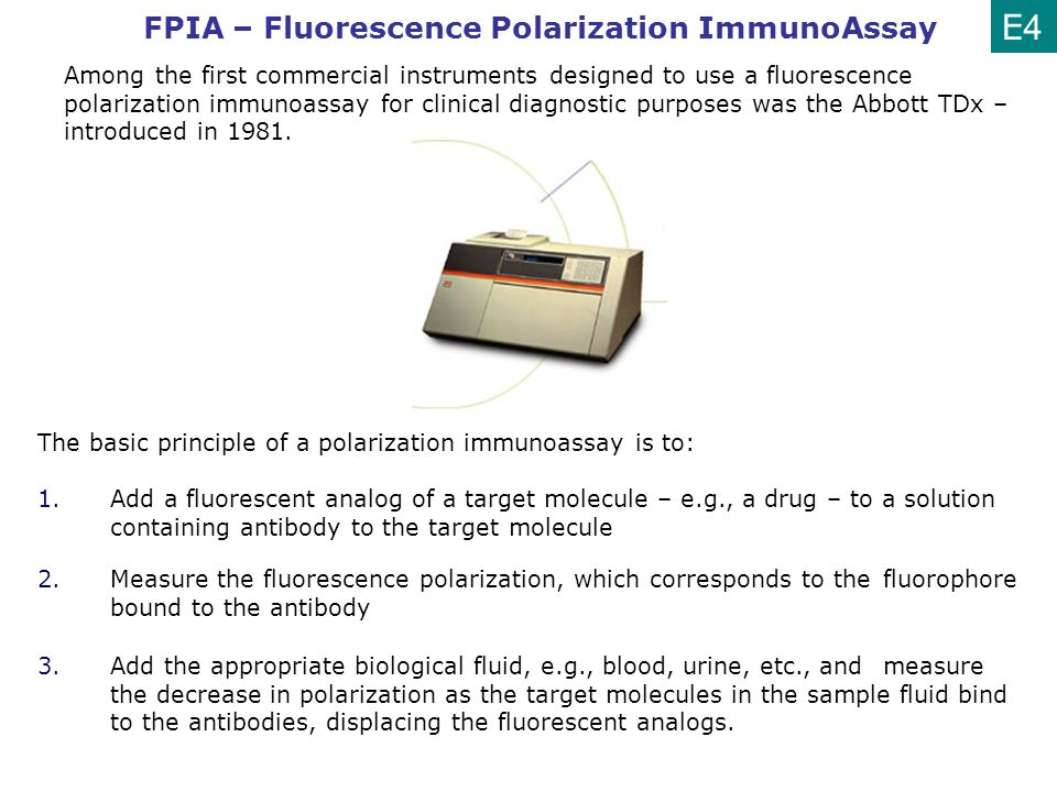Among the first commercial instruments designed to use a fluorescence polarization immunoassay for clinical diagnostic purposes was the Abbott TDx – i