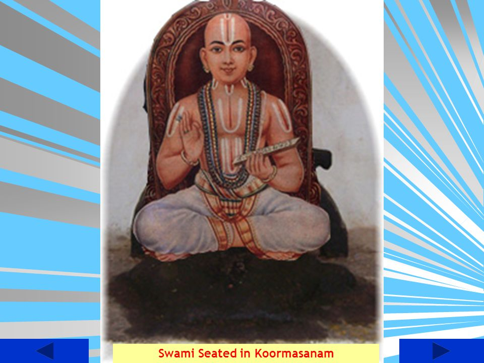 Artistic view of Swami Seated in Koormasanam under Gynaashwatha at the Banks of river Cauvery in Sathyagalam