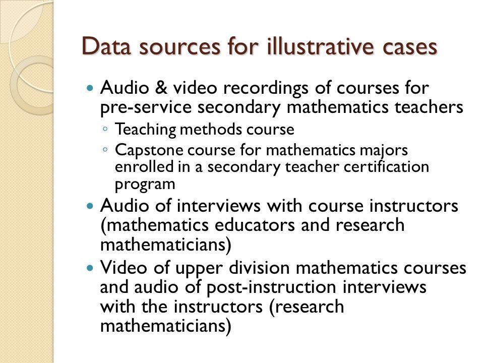 Data sources for illustrative cases Audio & video recordings of courses for pre-service secondary mathematics teachers ◦ Teaching methods course ◦ Cap