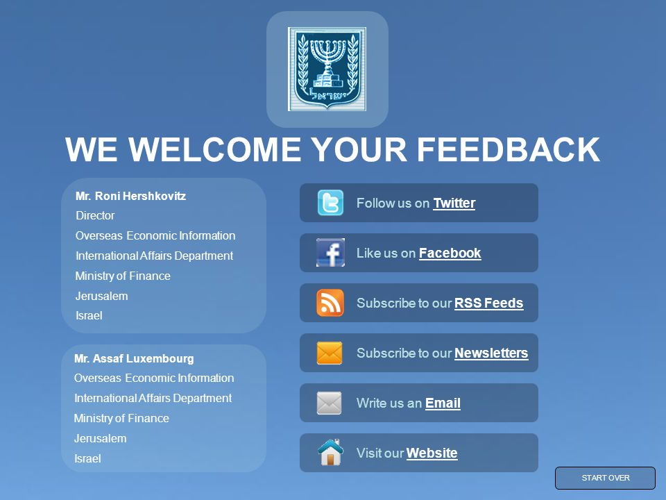 WE WELCOME YOUR FEEDBACK Mr.