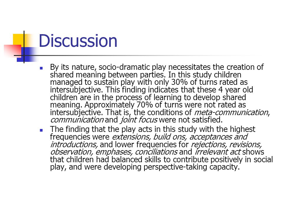 Discussion By its nature, socio-dramatic play necessitates the creation of shared meaning between parties. In this study children managed to sustain p