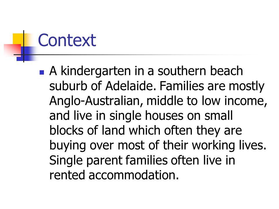 Context A kindergarten in a southern beach suburb of Adelaide.
