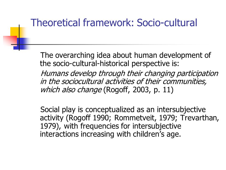 Theoretical framework: Socio-cultural The overarching idea about human development of the socio-cultural-historical perspective is: Humans develop through their changing participation in the sociocultural activities of their communities, which also change (Rogoff, 2003, p.