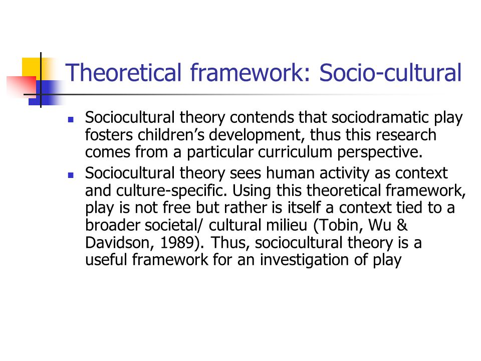 Theoretical framework: Socio-cultural Sociocultural theory contends that sociodramatic play fosters children's development, thus this research comes from a particular curriculum perspective.