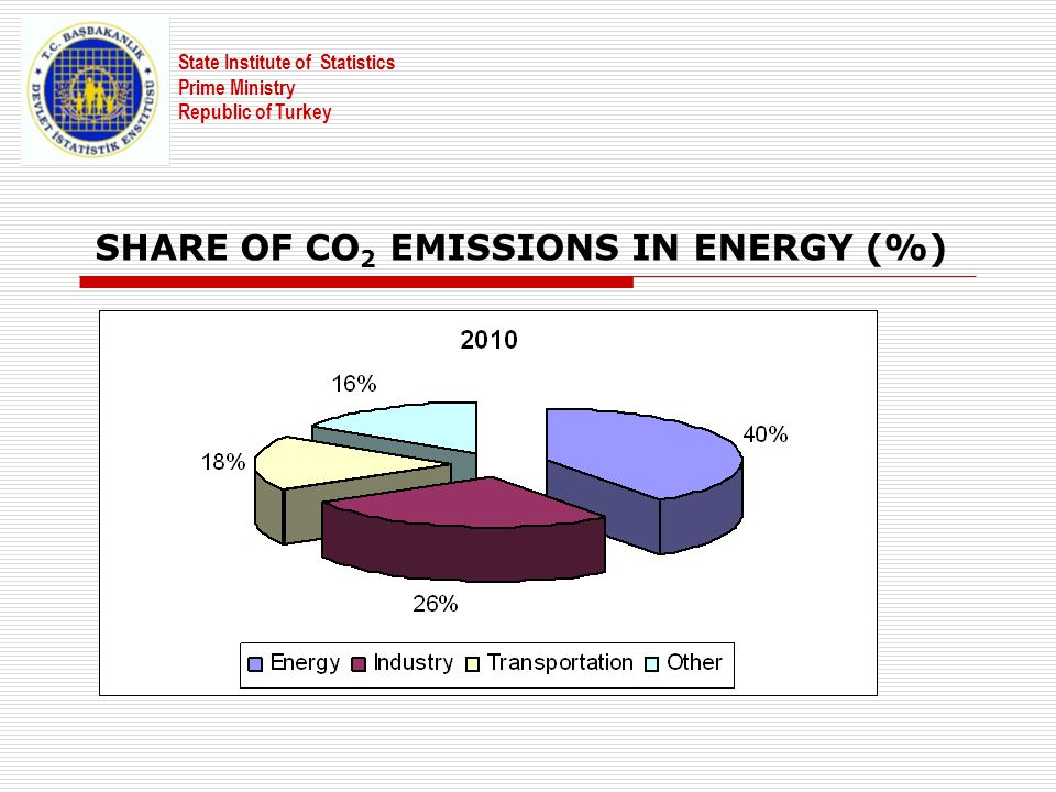 SHARE OF CO 2 EMISSIONS IN ENERGY (%) State Institute of Statistics Prime Ministry Republic of Turkey