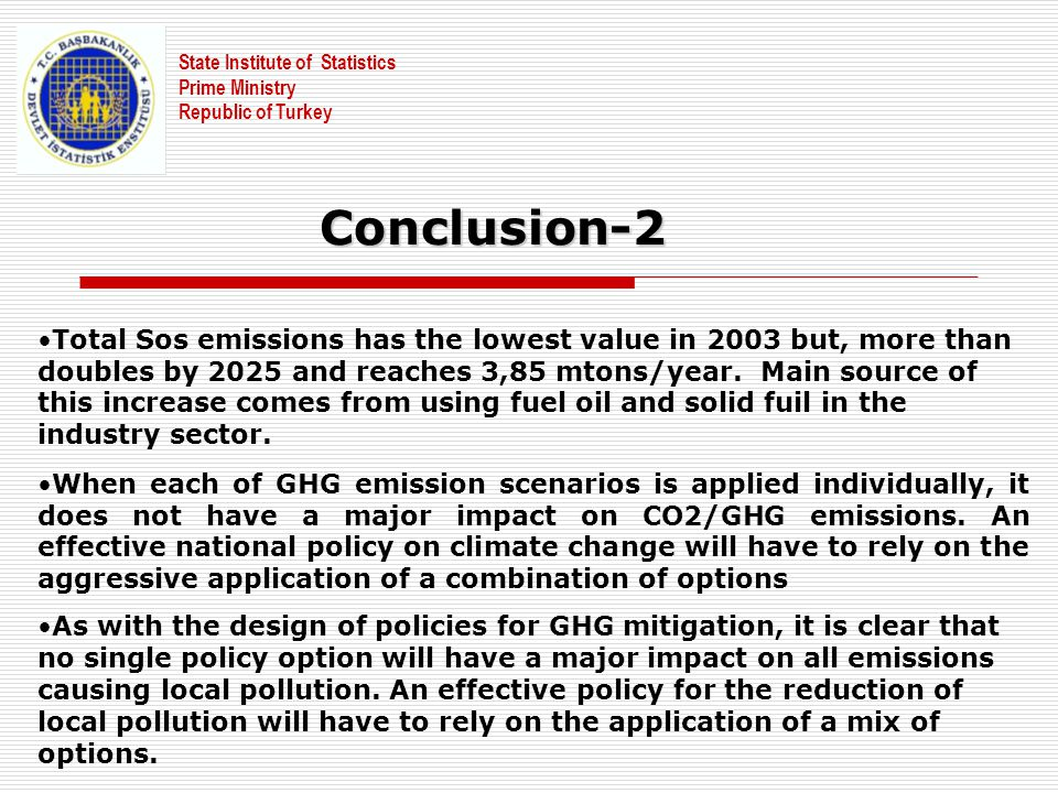 State Institute of Statistics Prime Ministry Republic of Turkey Total Sos emissions has the lowest value in 2003 but, more than doubles by 2025 and re