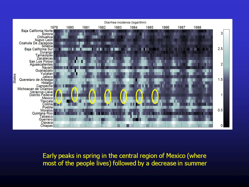 Early peaks in spring in the central region of Mexico (where most of the people lives) followed by a decrease in summer