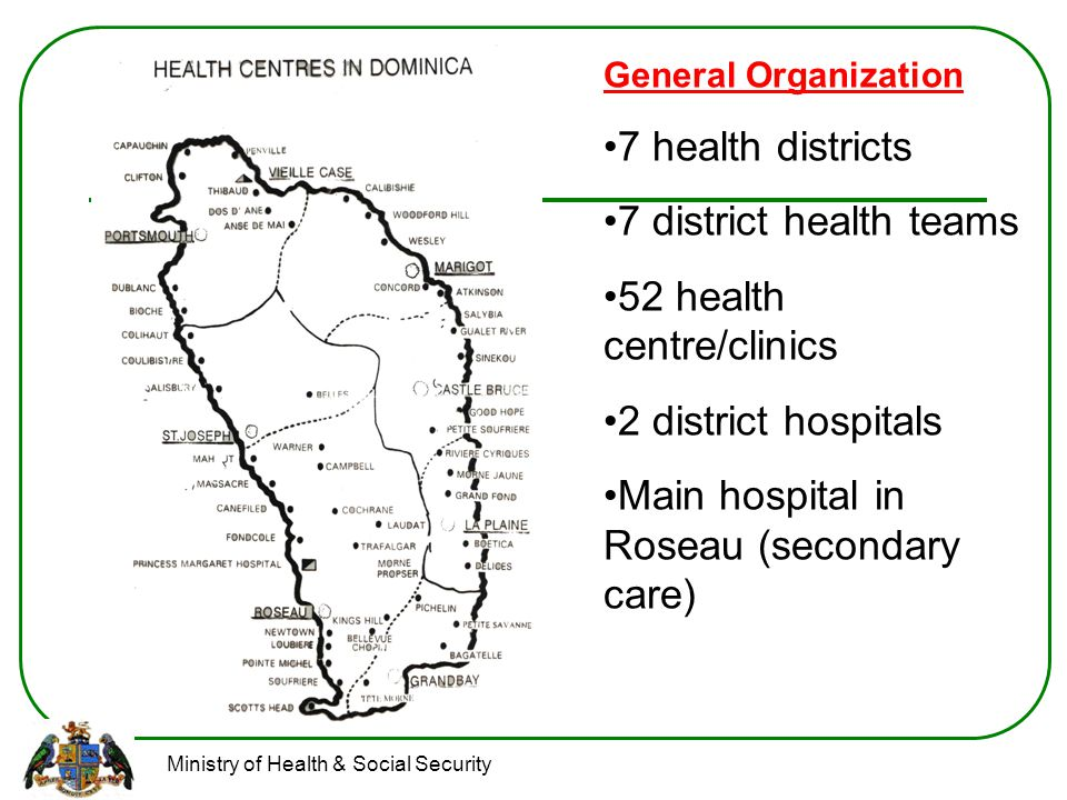 Ministry of Health & Social Security Type 3 Health centres – 1 per health district.