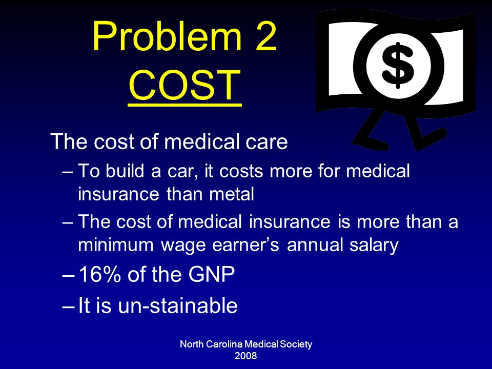 North Carolina Medical Society 2008 Problem 2 COST The cost of medical care –To build a car, it costs more for medical insurance than metal –The cost of medical insurance is more than a minimum wage earner's annual salary –16% of the GNP –It is un-stainable