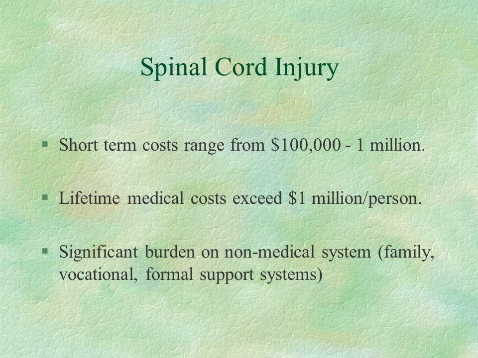 Spinal Cord Injury §Short term costs range from $100,000 - 1 million. §Lifetime medical costs exceed $1 million/person. §Significant burden on non-med