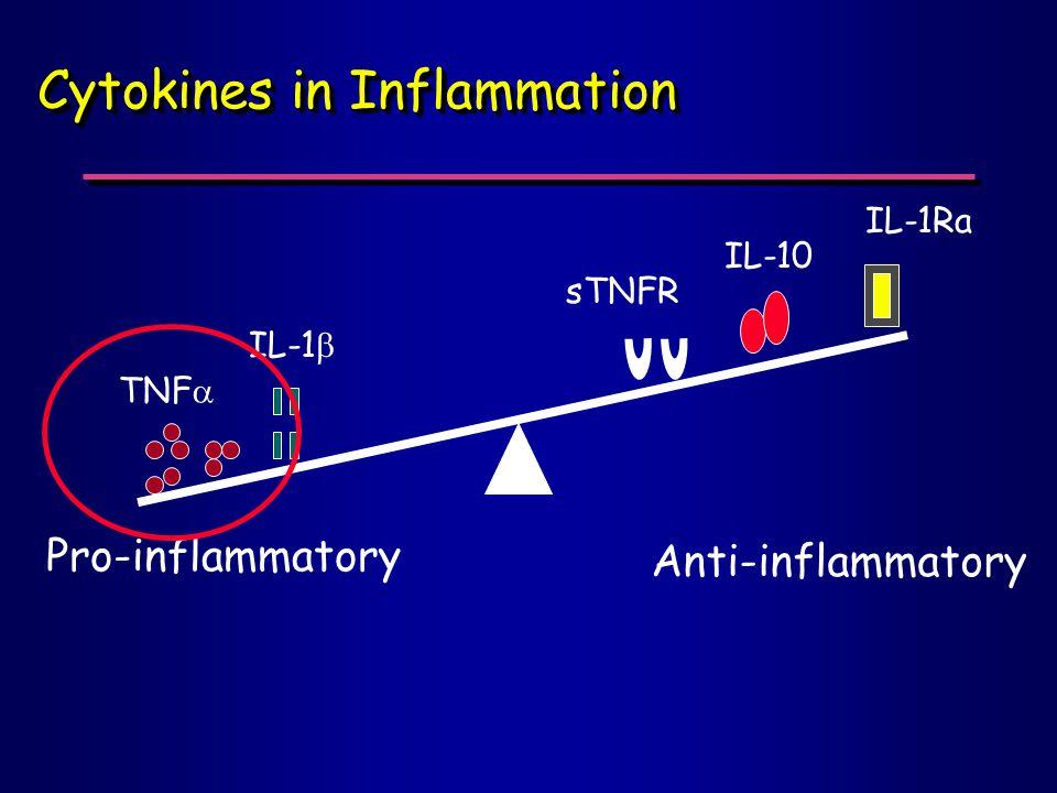Cytokines in Inflammation Pro-inflammatory Anti-inflammatory TNF  IL-1  sTNFR IL-10 IL-1Ra