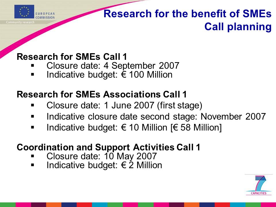 Research for SMEs Call 1  Closure date: 4 September 2007  Indicative budget: € 100 Million Research for SMEs Associations Call 1  Closure date: 1 June 2007 (first stage)  Indicative closure date second stage: November 2007  Indicative budget: € 10 Million [€ 58 Million] Coordination and Support Activities Call 1  Closure date: 10 May 2007  Indicative budget: € 2 Million Research for the benefit of SMEs Call planning