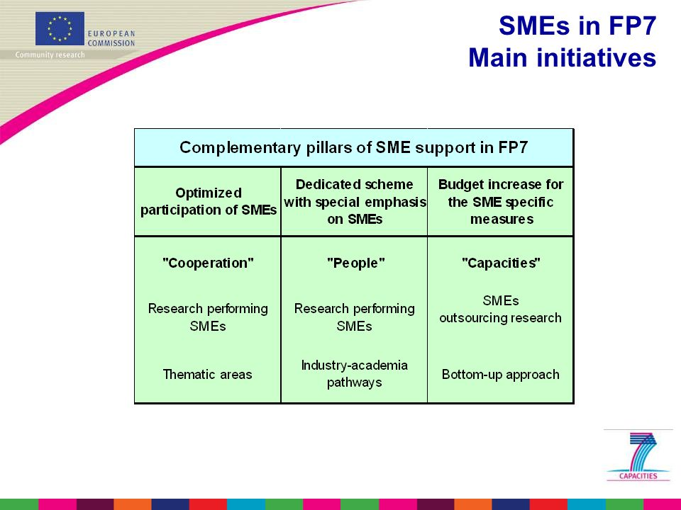 SMEs in FP7 Main initiatives
