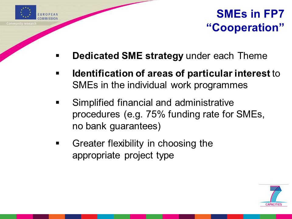  Dedicated SME strategy under each Theme  Identification of areas of particular interest to SMEs in the individual work programmes  Simplified financial and administrative procedures (e.g.
