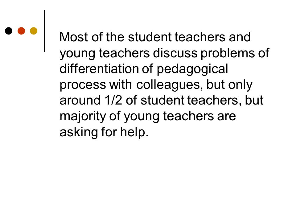 Most of the student teachers and young teachers discuss problems of differentiation of pedagogical process with colleagues, but only around 1/2 of student teachers, but majority of young teachers are asking for help.