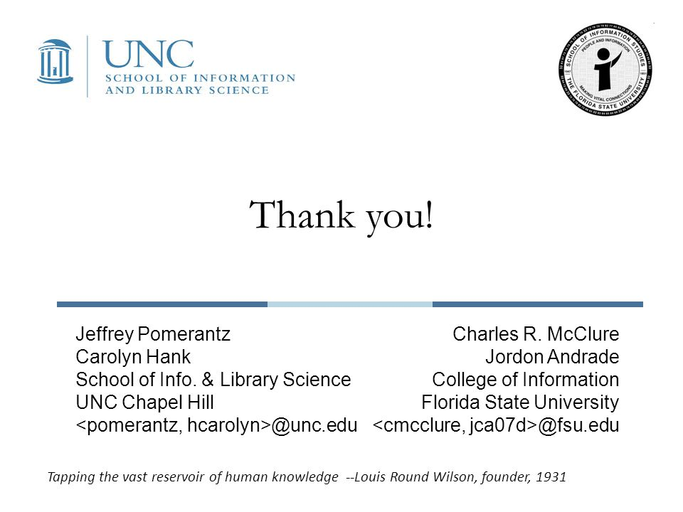 Thank you! Jeffrey Pomerantz Carolyn Hank School of Info. & Library Science UNC Chapel Hill @unc.edu Charles R. McClure Jordon Andrade College of Info