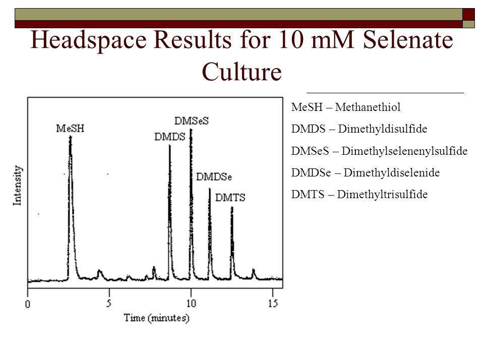 Headspace Results for 10 mM Selenate Culture MeSH – Methanethiol DMDS – Dimethyldisulfide DMSeS – Dimethylselenenylsulfide DMDSe – Dimethyldiselenide DMTS – Dimethyltrisulfide