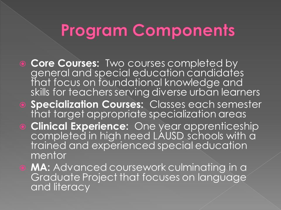  Core Courses: Two courses completed by general and special education candidates that focus on foundational knowledge and skills for teachers serving diverse urban learners  Specialization Courses: Classes each semester that target appropriate specialization areas  Clinical Experience: One year apprenticeship completed in high need LAUSD schools with a trained and experienced special education mentor  MA: Advanced coursework culminating in a Graduate Project that focuses on language and literacy