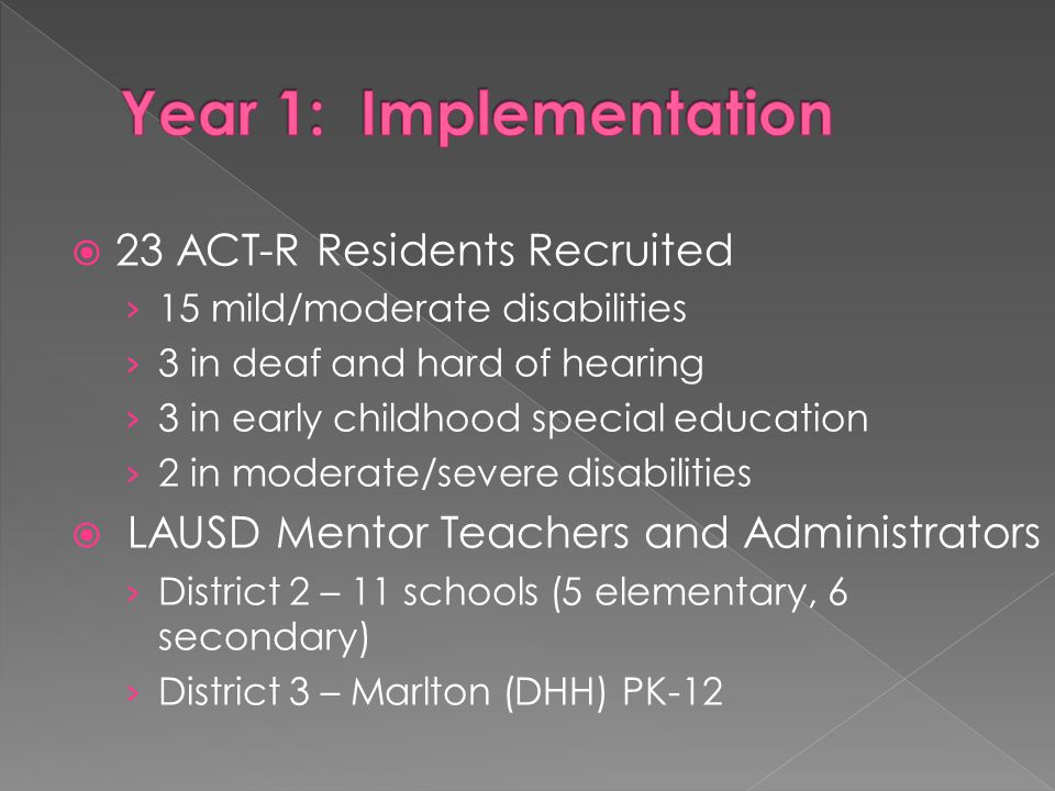  23 ACT-R Residents Recruited › 15 mild/moderate disabilities › 3 in deaf and hard of hearing › 3 in early childhood special education › 2 in moderate/severe disabilities  LAUSD Mentor Teachers and Administrators › District 2 – 11 schools (5 elementary, 6 secondary) › District 3 – Marlton (DHH) PK-12