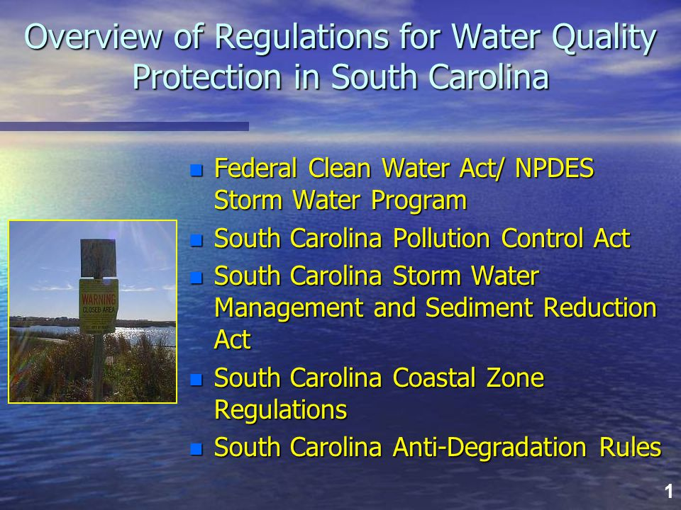 1 Overview of Regulations for Water Quality Protection in South Carolina n Federal Clean Water Act/ NPDES Storm Water Program n South Carolina Polluti