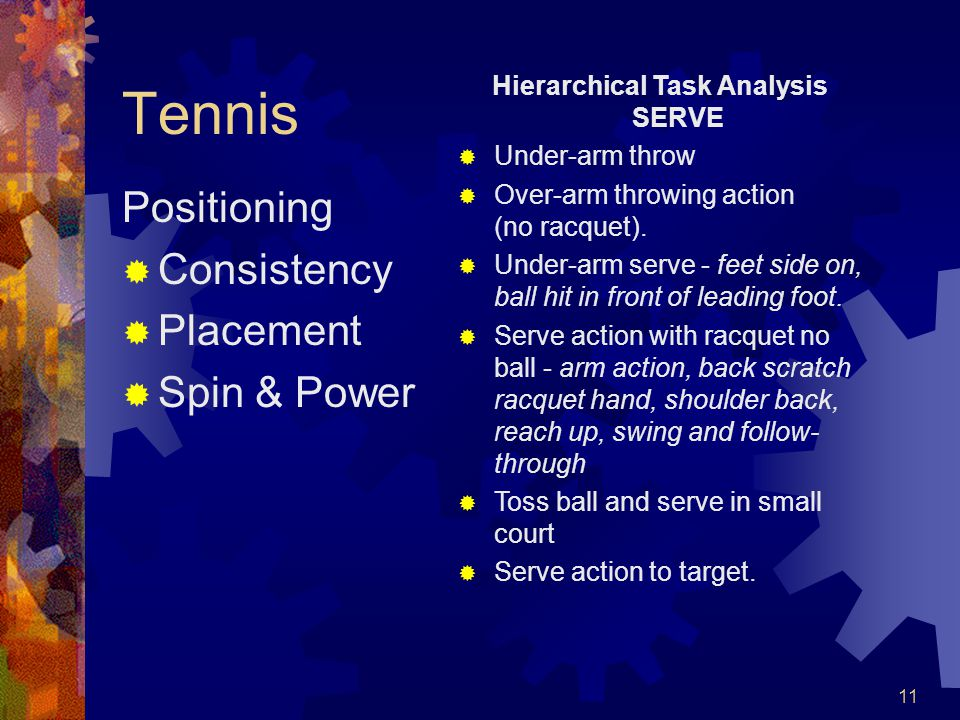 11 Tennis Positioning  Consistency  Placement  Spin & Power Hierarchical Task Analysis SERVE  Under-arm throw  Over-arm throwing action (no racquet).