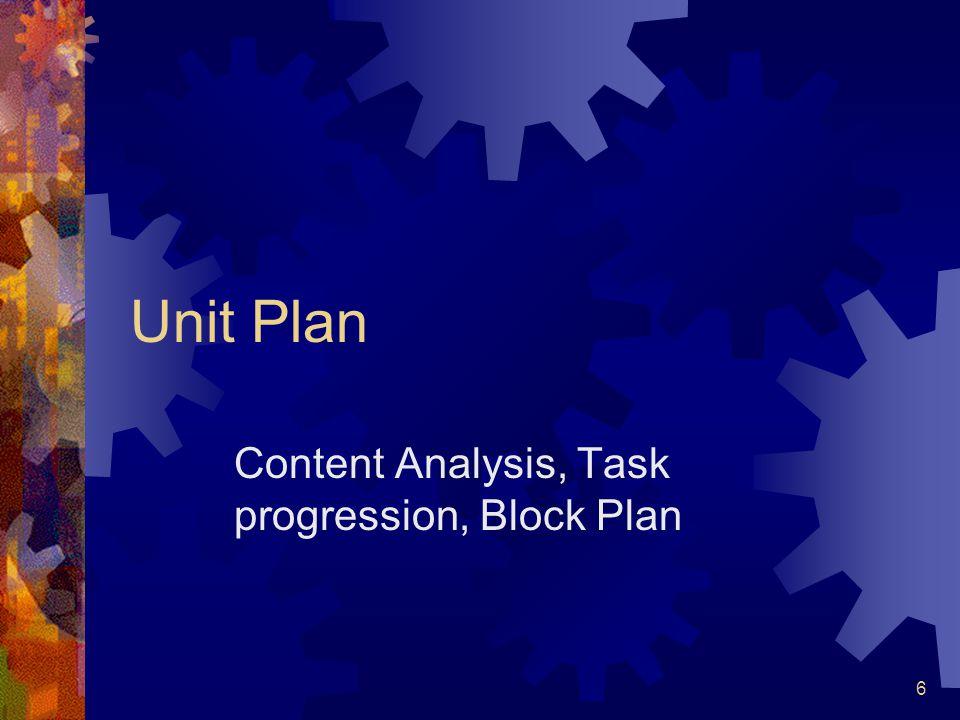 6 Unit Plan Content Analysis, Task progression, Block Plan