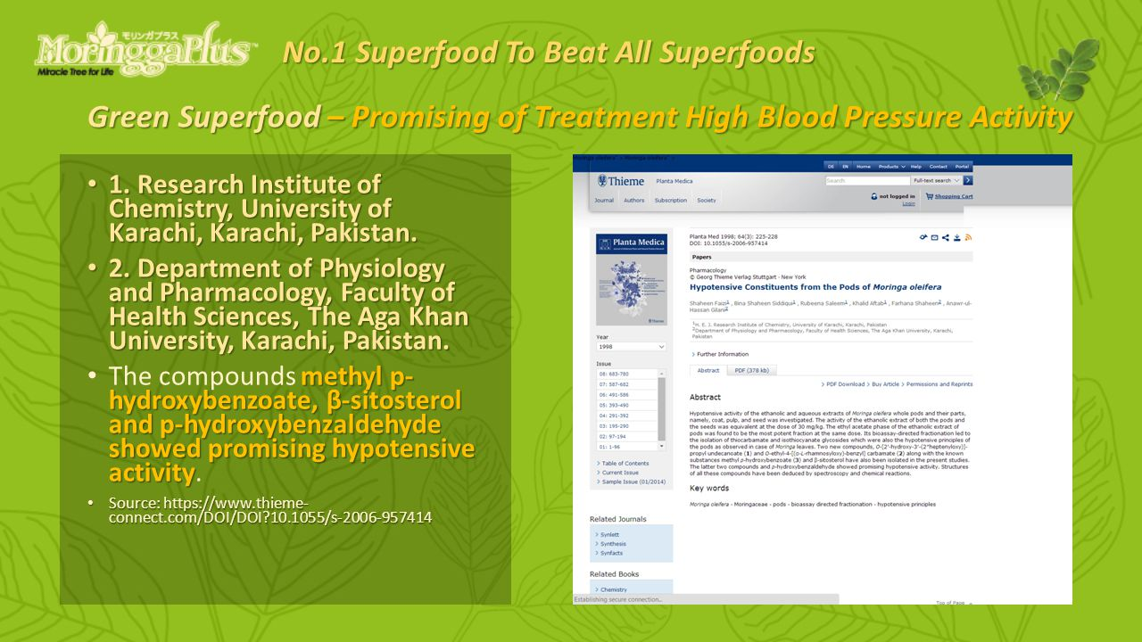 Green Superfood – Promising of Treatment High Blood Pressure Activity 1.