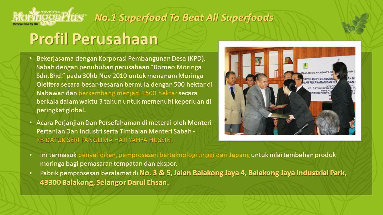 Profil Perusahaan Bekerjasama dengan Korporasi Pembangunan Desa (KPD), Sabah dengan penubuhan perusahaan Borneo Moringa Sdn.Bhd. pada 30hb Nov 2010 untuk menanam Moringa Oleifera secara besar-besaran bermula dengan 500 hektar di Nabawan dan berkembang menjadi 1500 hektar secara berkala dalam waktu 3 tahun untuk memenuhi keperluan di peringkat global.