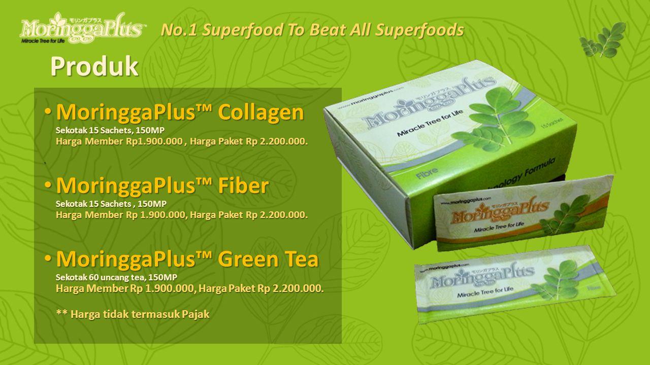 Produk MoringgaPlus™ Collagen Sekotak 15 Sachets, 150MP Harga Member Rp1.900.000, Harga Paket Rp 2.200.000.