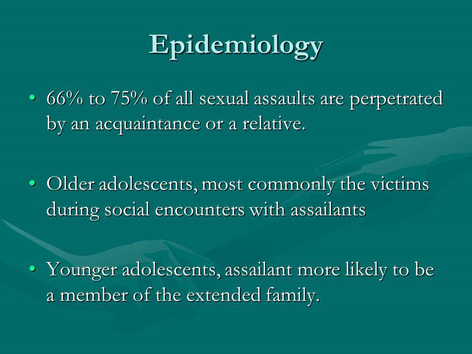 Epidemiology 66% to 75% of all sexual assaults are perpetrated by an acquaintance or a relative.66% to 75% of all sexual assaults are perpetrated by an acquaintance or a relative.