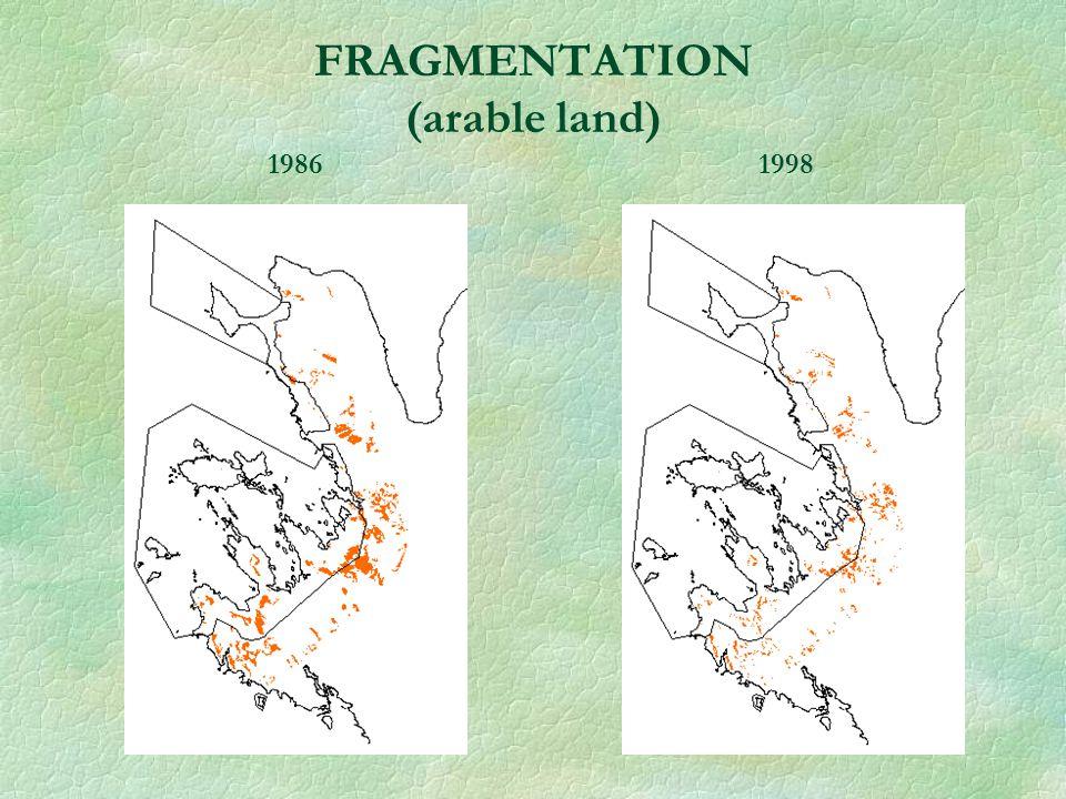 FRAGMENTATION (arable land) 1986 1998