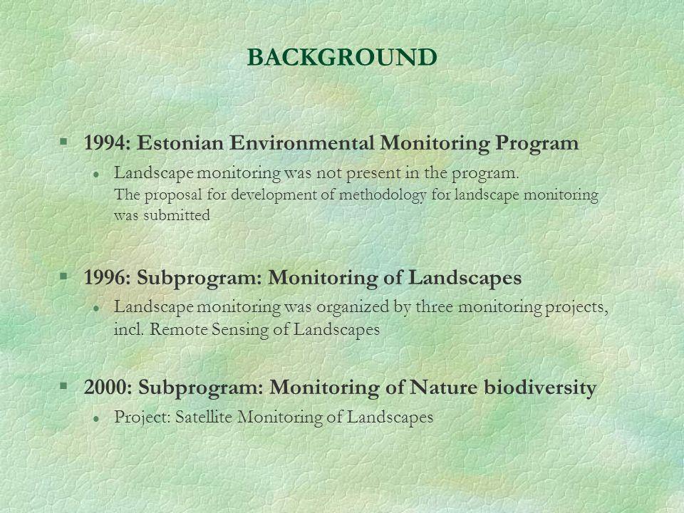 BACKGROUND §1994: Estonian Environmental Monitoring Program l Landscape monitoring was not present in the program.