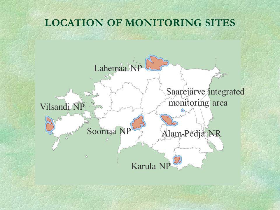 LOCATION OF MONITORING SITES Lahemaa NP Vilsandi NP Soomaa NP Alam-Pedja NR Karula NP Saarejärve integrated monitoring area