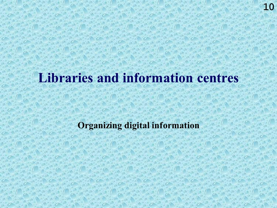 10 Libraries and information centres Organizing digital information