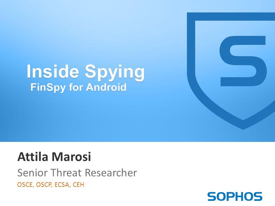 22 Inside Spying – Attila MAROSI - SOPHOSLABS The packet we received (intercepted) 10 00 00 00 60 01 86 00 2e fd 9d 25 04 41 01 00  ....`......%.A..  78 00 00 00 a0 02 86 00 10 00 00 00 60 57 fe 00  x...........`W..  2e fd 9d 25 04 41 01 00 60 00 00 00 90 01 84 00  ...%.A..`.......  58 00 00 00 90 5b fe 00 bb b9 1a bb 3f db d4 17  X....[......?...  24 1c b2 81 b1 4a c9 2d a9 03 10 fa d8 07 d9 8d  $....J.-........  98 67 0a b1 1f 9a 5e f2 e6 c7 16 e1 4a 28 6e 84  .g....^.....J(n.  8e f2 c2 a1 ec 28 b6 2f 82 53 84 6a ce 57 a6 6b  .....(./.S.j.W.k  b6 82 81 05 89 51 49 0d 48 d7 3f b5 ed 96 a3 5a  .....QI.H.?....Z  55 a2 d3 4d c1 04 fe 1a  U..M....  \x2e\xfd\x9d\x25\x04\x41\x01\x00 = 352961043496238 IMEI (15 digits) \x10\x00\x00\x00 = 16 (8B Header, 8B Value) 0x860160 – MobileTgUID = IMEI 0xfe5b90 – Encrypted content International Mobile Station Equipment Identity