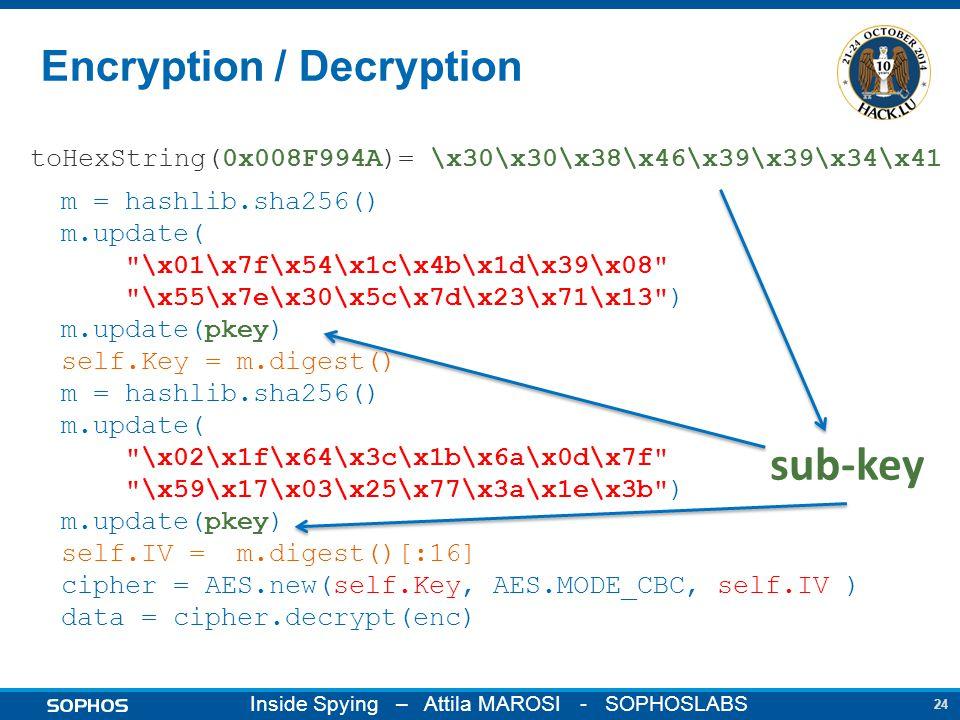 24 Inside Spying – Attila MAROSI - SOPHOSLABS Encryption / Decryption m = hashlib.sha256() m.update( \x01\x7f\x54\x1c\x4b\x1d\x39\x08 \x55\x7e\x30\x5c\x7d\x23\x71\x13 ) m.update(pkey) self.Key = m.digest() m = hashlib.sha256() m.update( \x02\x1f\x64\x3c\x1b\x6a\x0d\x7f \x59\x17\x03\x25\x77\x3a\x1e\x3b ) m.update(pkey) self.IV = m.digest()[:16] cipher = AES.new(self.Key, AES.MODE_CBC, self.IV ) data = cipher.decrypt(enc) toHexString(0x008F994A)= \x30\x30\x38\x46\x39\x39\x34\x41 sub-key