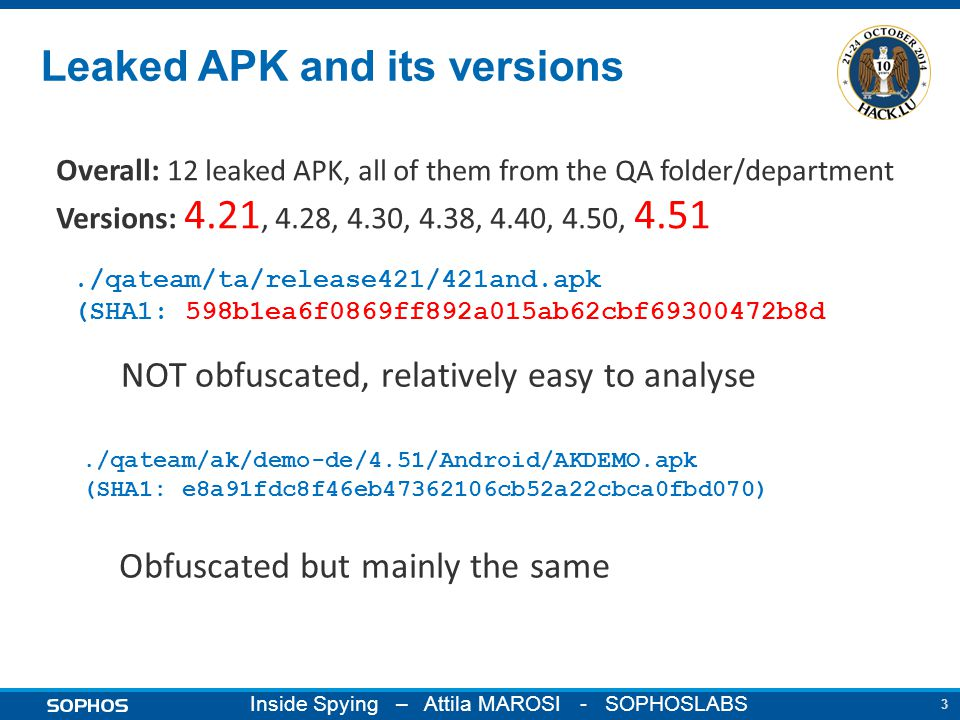 3 Inside Spying – Attila MAROSI - SOPHOSLABS Leaked APK and its versions./qateam/ta/release421/421and.apk (SHA1: 598b1ea6f0869ff892a015ab62cbf69300472b8d./qateam/ak/demo-de/4.51/Android/AKDEMO.apk (SHA1: e8a91fdc8f46eb47362106cb52a22cbca0fbd070) NOT obfuscated, relatively easy to analyse Obfuscated but mainly the same Overall: 12 leaked APK, all of them from the QA folder/department Versions: 4.21, 4.28, 4.30, 4.38, 4.40, 4.50, 4.51