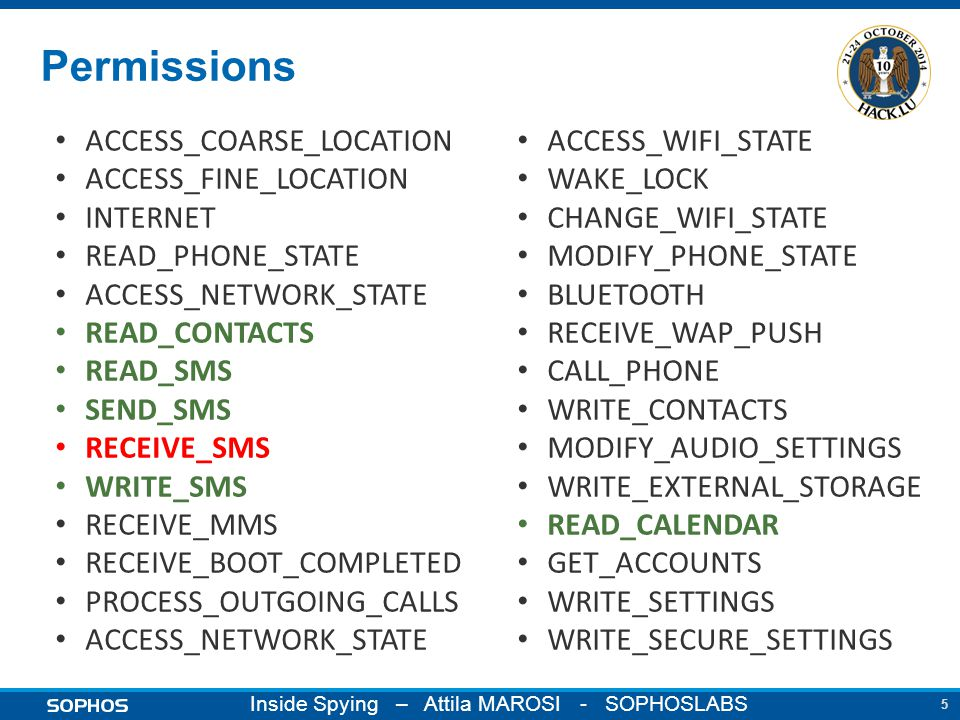 5 Inside Spying – Attila MAROSI - SOPHOSLABS Permissions ACCESS_COARSE_LOCATION ACCESS_FINE_LOCATION INTERNET READ_PHONE_STATE ACCESS_NETWORK_STATE READ_CONTACTS READ_SMS SEND_SMS RECEIVE_SMS WRITE_SMS RECEIVE_MMS RECEIVE_BOOT_COMPLETED PROCESS_OUTGOING_CALLS ACCESS_NETWORK_STATE ACCESS_WIFI_STATE WAKE_LOCK CHANGE_WIFI_STATE MODIFY_PHONE_STATE BLUETOOTH RECEIVE_WAP_PUSH CALL_PHONE WRITE_CONTACTS MODIFY_AUDIO_SETTINGS WRITE_EXTERNAL_STORAGE READ_CALENDAR GET_ACCOUNTS WRITE_SETTINGS WRITE_SECURE_SETTINGS
