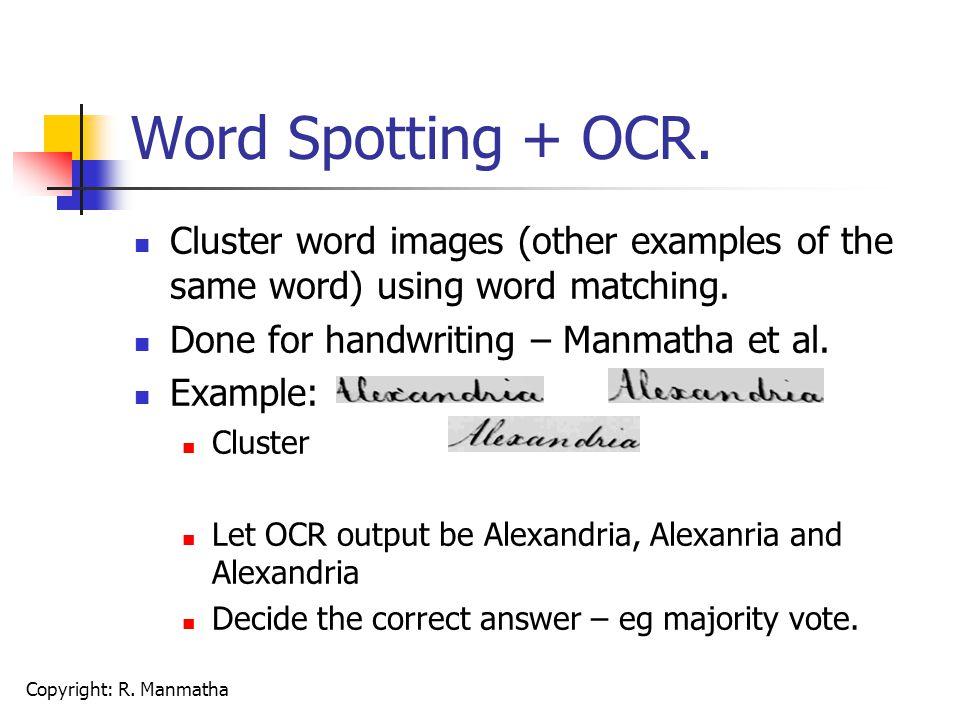 Copyright: R. Manmatha Word Spotting + OCR.