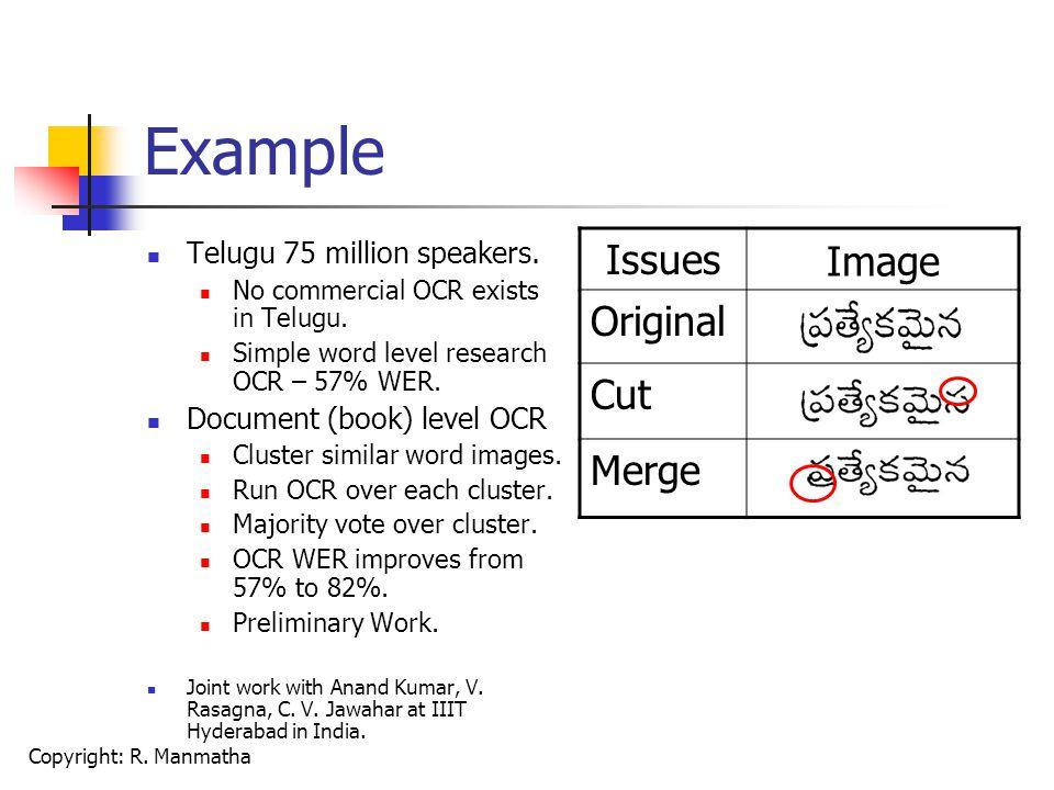 Copyright: R. Manmatha Example Telugu 75 million speakers.