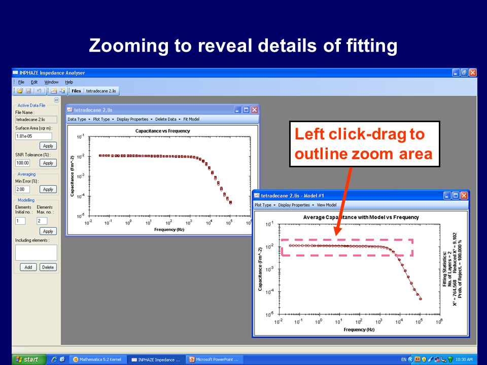 Zooming to reveal details of fitting Left click-drag to outline zoom area