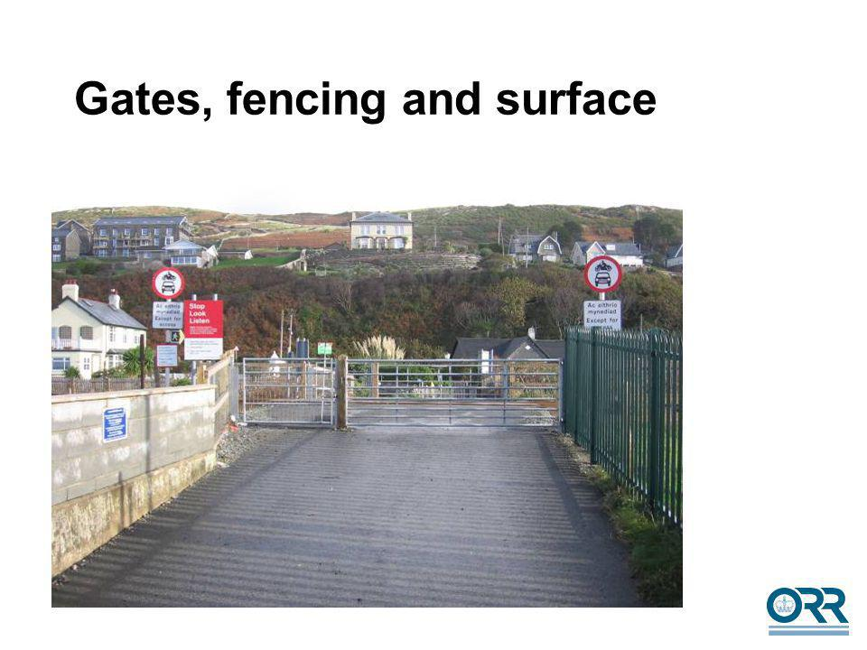 14 Gates, fencing and surface